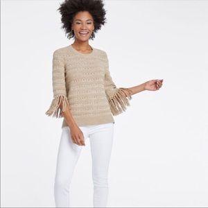 NIC+ZOE Fringe Cuff Sweater Cream Size XL